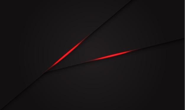 Streszczenie czerwona linia cienia światła na ciemnoszarym nowoczesnym futurystycznym tle.