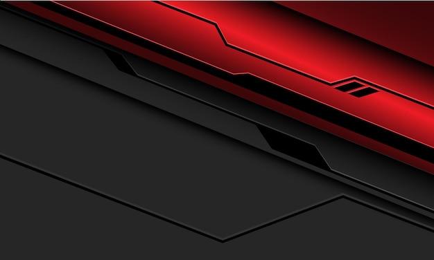 Streszczenie czerwona metaliczna czarna linia obwodu cyber na szaro z pustą przestrzenią nowoczesnej futurystycznej technologii tle