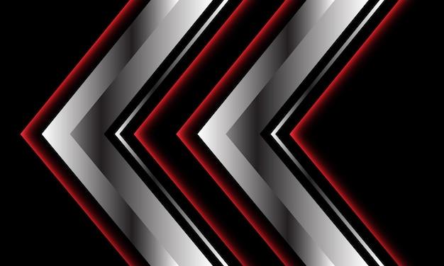 Streszczenie czerwona srebrna metaliczna strzałka w kierunku czarnego nowoczesnego luksusu futurystycznego