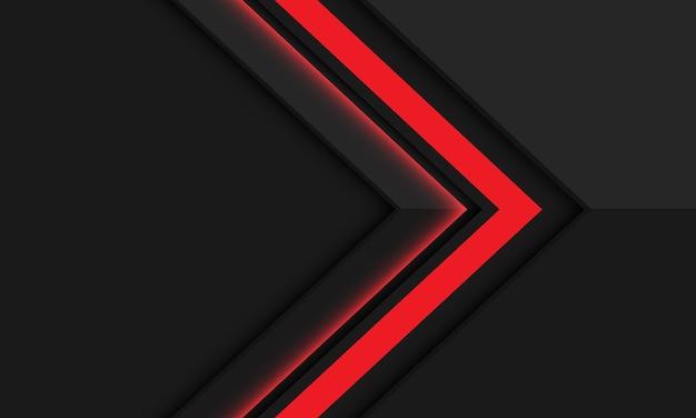 Streszczenie czerwona strzałka w kierunku cienia na ciemnoszarym metalicznym nowoczesnym futurystycznym tle.