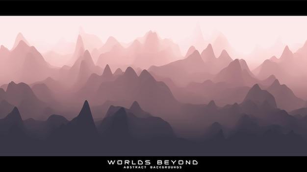 Streszczenie czerwonawy krajobraz z mglistą mgłą aż do horyzontu na zboczach gór.