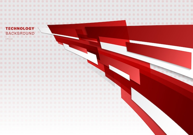 Streszczenie czerwone i białe błyszczące kształty geometryczne
