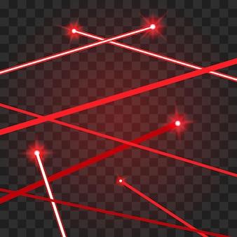 Streszczenie czerwone wiązki laserowe na przezroczystym tle