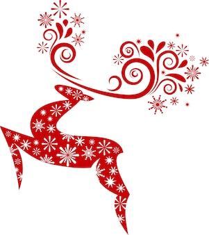 Streszczenie czerwony boże narodzenie jelenia z wzorem płatki śniegu