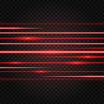 Streszczenie czerwony efekt świetlny wiązki laserowej podświetlony