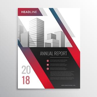 Streszczenie czerwonym biznes broszura szablon ulotki wektor wzór