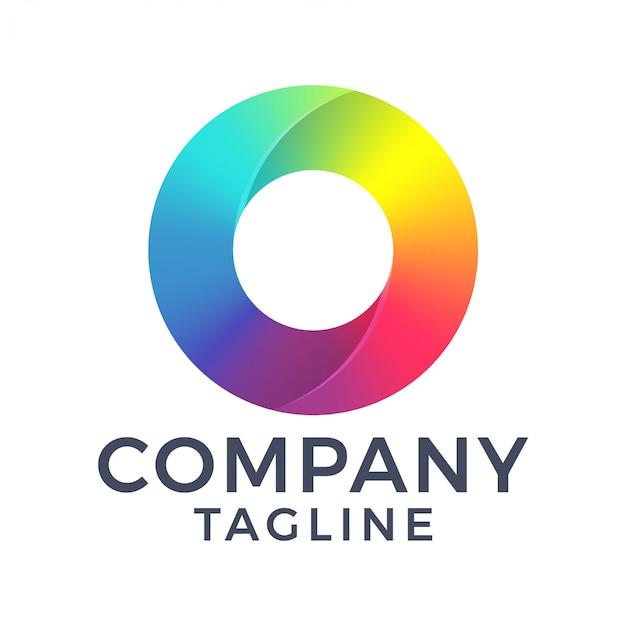 Streszczenie czyste kolorowe koło litera o projektowanie logo linii gradientu
