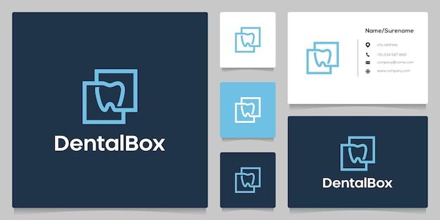 Streszczenie dental square line zarys logo szablon projektu minimalistyczny