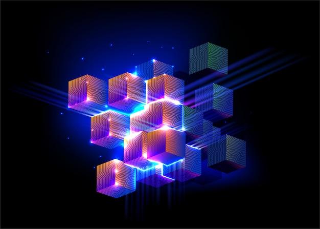 Streszczenie digital cube background
