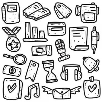 Streszczenie doodle kawaii szablon