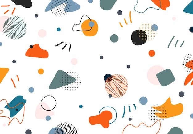 Streszczenie doodle memphis projekt swobodnych kształtów elementów dekoracyjnych tła.