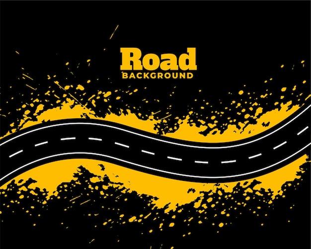 Streszczenie droga ścieżka z żółtym splatter