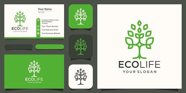 Streszczenie drzewo logo i wektor projekt wizytówki.