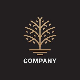 Streszczenie drzewo logo. uniwersalny, solidny symbol klasy premium.