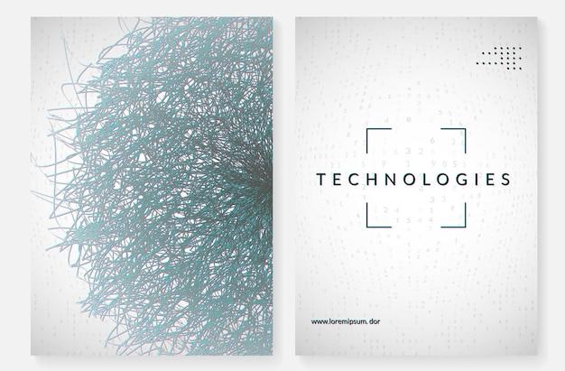 Streszczenie dużych zbiorów danych. tło technologii cyfrowej. koncepcja sztucznej inteligencji i głębokiego uczenia się. wizualizacja techniczna dla szablonu bezprzewodowego. streszczenie tło futurystyczny big data.