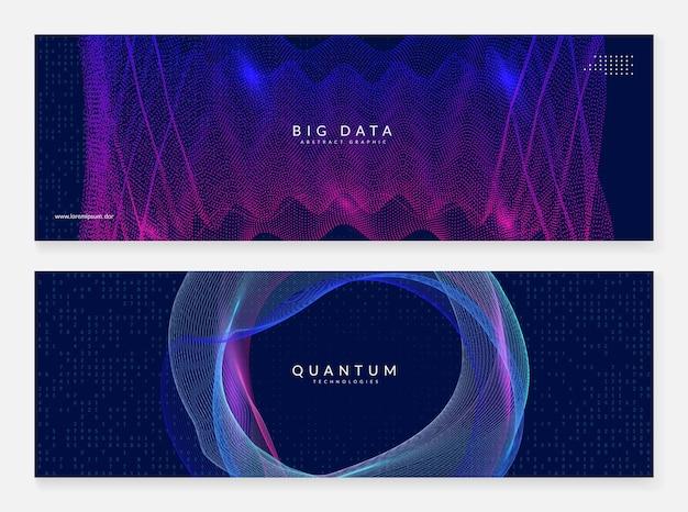 Streszczenie dużych zbiorów danych. zestaw bannerów technologii cyfrowej.