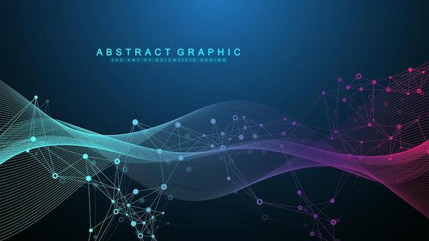 Streszczenie dynamiczne linie ruchu i kropki tło z kolorowymi cząsteczkami. cyfrowe przesyłanie strumieniowe tła, przepływ fal. tło strumienia splotu. technologia big data, ilustracji wektorowych
