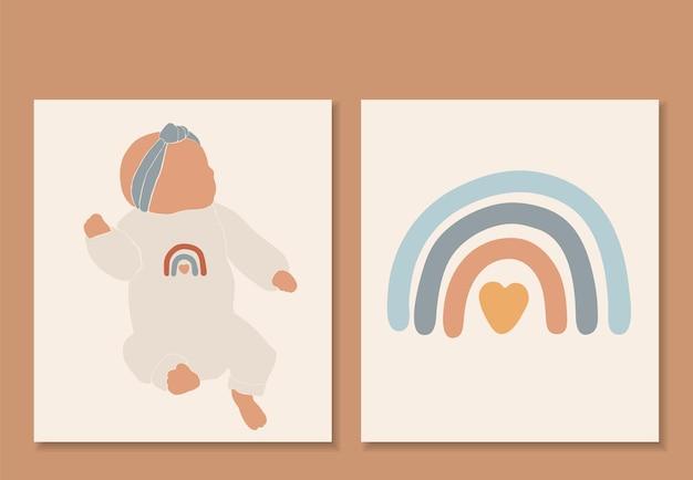 Streszczenie dziecko na białym tle wektor, druk boho tęczy