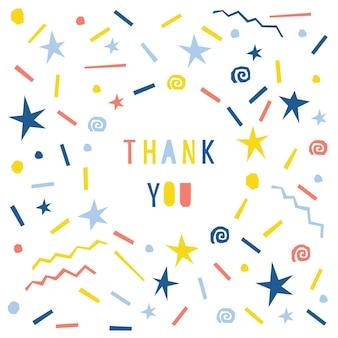 Streszczenie dziękuję szablon karty. ręcznie robione dziecięce litery wzór tła na projekt karty podarunkowej, zaproszenia na przyjęcie, reklamy warsztatowej, plakatu sklepowego, koszulki, nadruku na torbie itp.