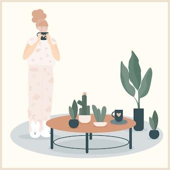 Streszczenie Dziewczyna Ilustracja Picia Kawy Rano, Dekoracja Roślin Domu Premium Wektorów