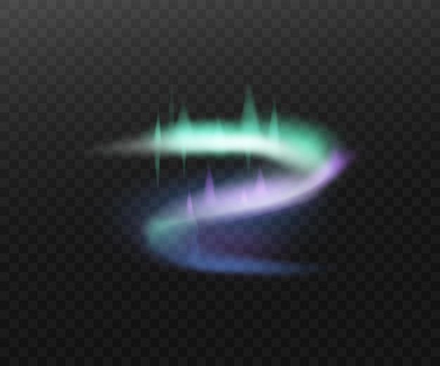 Streszczenie efekt świetlny realistyczna ilustracja polarna aurora na białym tle