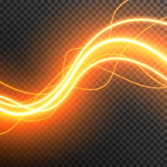Streszczenie efekt świetlny świecące fale wektor przezroczysty
