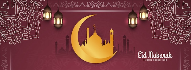 Streszczenie eid mubarak islamski transparent ozdobny projekt