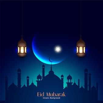 Streszczenie eid mubarak stylowe tło islamskie