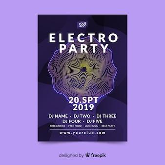 Streszczenie electro party plakat szablon