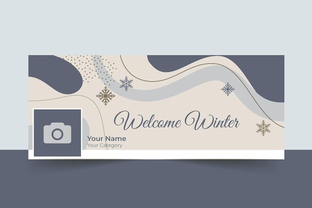 Streszczenie elegancka zimowa okładka na facebooku