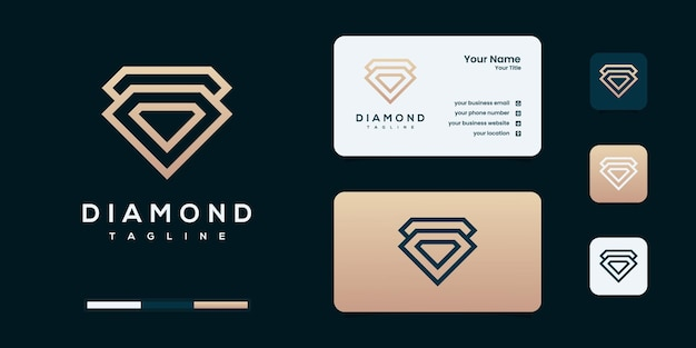Streszczenie elegancki diament biżuteria linia szablon projektu logo.