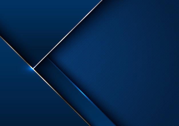 Streszczenie elegancki niebieski szablon geometryczny ze złotą linią