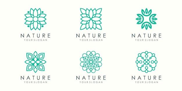 Streszczenie elegancki ornament logo i zestaw ikon.