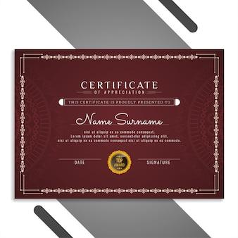Streszczenie elegancki piękny certyfikat