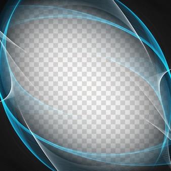 Streszczenie elegancki wzór fali niebieskiej na przejrzystym tle