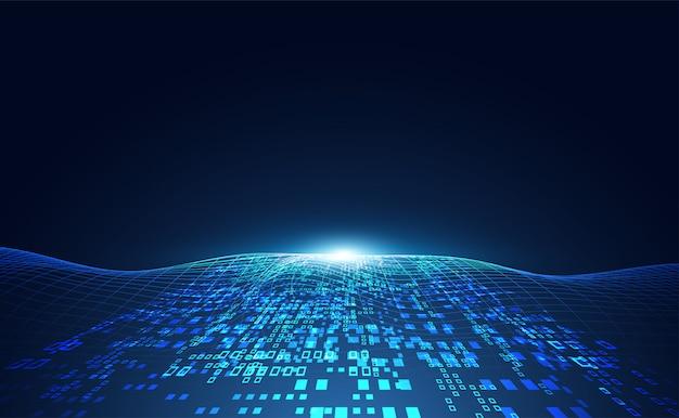 Streszczenie fali technologii koncepcja danych roboczych sztucznej inteligencji
