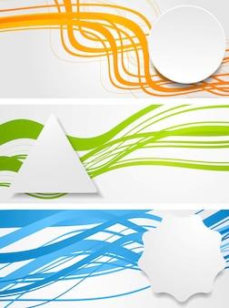 Streszczenie faliste banery z geometrycznymi etykietami. projekt wektorowy
