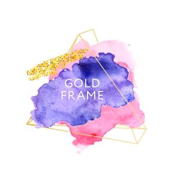 Streszczenie farba pędzlem akwarela na złotej ramie ręcznie malowany szorstki papier