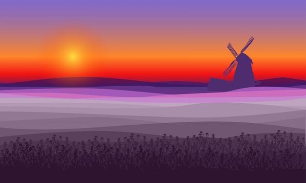 Streszczenie fioletowy krajobraz pola