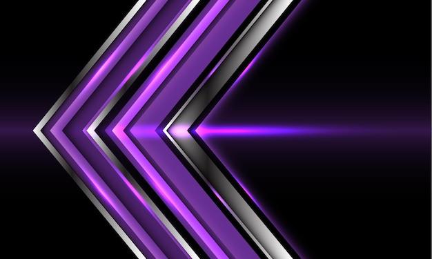 Streszczenie fioletowy srebrny strzałka kierunek na czarnym tle nowoczesnej technologii futurystycznej