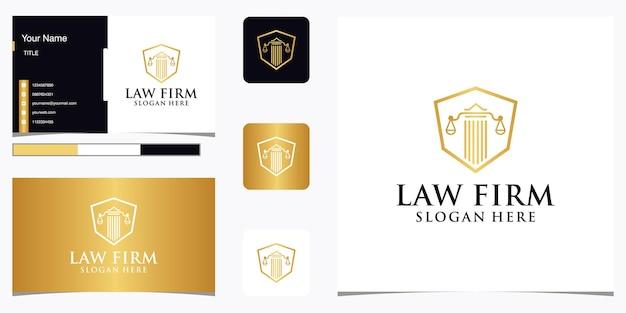 Streszczenie firmy prawniczej z luksusowym projektem logo filaru i szablonem wizytówki