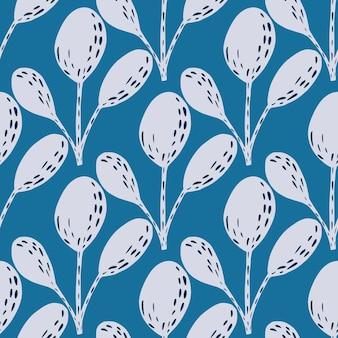 Streszczenie flora wzór z jasnoszarym scandi sylwetki liści. niebieskie jasne tło. ilustracji. projekt wektor dla tekstyliów, tkanin, prezentów, tapet.