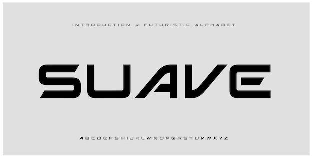Streszczenie futurystyczna nowoczesna technologia. nowoczesne czcionki alfabetu o minimalistycznym designie