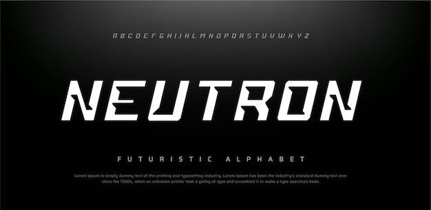 Streszczenie futurystyczna nowoczesna technologia. nowoczesne czcionki alfabetu
