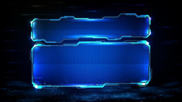 Streszczenie futurystyczna rama niebieskiej świecącej technologii sci fi ilustracja ramki