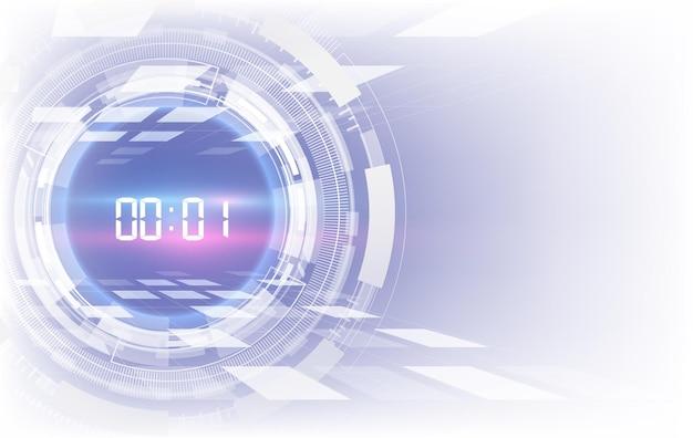 Streszczenie futurystyczna technologia tło z cyfrowym pojęciem licznika czasu i odliczaniem, przezroczyste