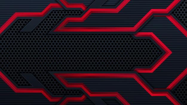 Streszczenie futurystyczne czarno-czerwone tło gier z nowoczesnymi kształtami e-sportu. koncepcja technologii szablonu projektu wektor może użyć elementu banner gry, plakat sportowy, cyber tapeta, www, reklama