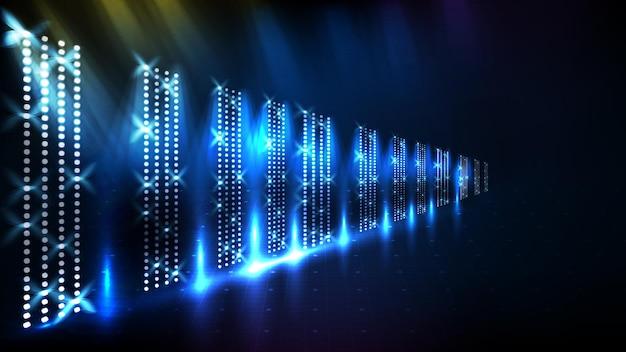 Streszczenie futurystyczne niebieskie tło świecącej sceny z pięknym promieniem reflektora
