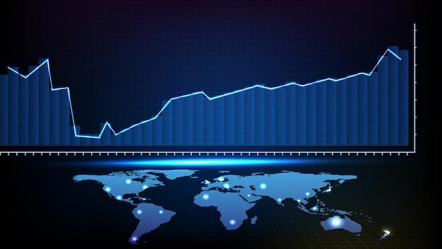 Streszczenie futurystyczne tło linii trendu na giełdzie analiza wykresu