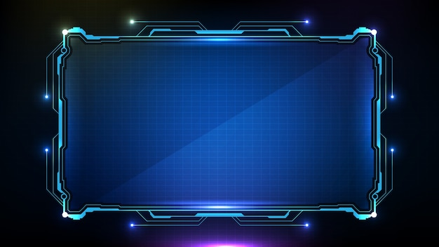 Streszczenie futurystyczne tło niebieskie świecące ramki hud ui technologii sci fi.
